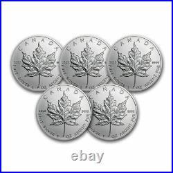 1 oz Canadian Silver Maple Leaf Coin BU (Random) Lot of 5 Coins