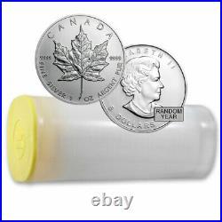 1 oz Canadian Silver Maple Leaf Coin BU (Random) Tube of 25 Coins