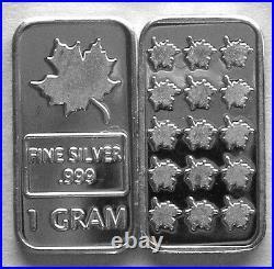 (100) 1 Gram. 999 Pure Silver Maple Leaf Bars