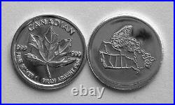 (100) 1 Gram. 999 Pure Silver Round Canadian Maple Leaf