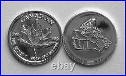 (100) 1 Gram. 999 Pure Silver Round Canadian Maple Leaf (2b)
