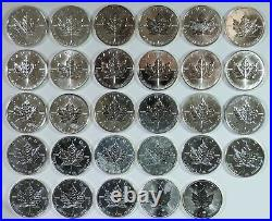 1988 2015 Complete Set of 29 Canada Maple Leaf 1oz. 9999 Silver $5 Coins