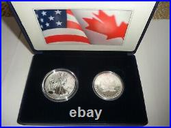 2 Coins 2019 Pride of Two Nations Reverse Proof Silver Eagle Maple Leaf in Case