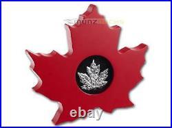 $ 20 Dollar Canadian Maple Leaf Shape 1 oz fine silver Canada 2015 Proof