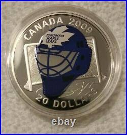 2009 $20 Sterling Silver Coloured Coin Toronto Maple Leafs Goalie Mask Coin