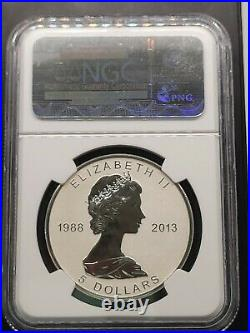 2013 $5 CANADA SILVER 1oz MAPLE LEAF REVERSE PROOF NGC PF70 25TH ANNIVERSARY Fr
