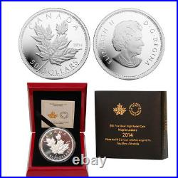 2014 $50 Maple Leaves 5 oz Fine Silver High Relief Proof Coin Mintage 2,500