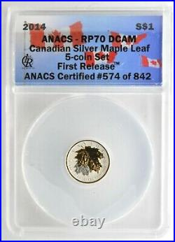 2014 Canada Silver Maple Leaf 5 Coin Set First Releases ANACS RP70 DCam Gilded