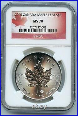 2015 Canadian Maple Leaf $5 Silver Dollar MS70 NGC. 9999 Certified Graded Coin