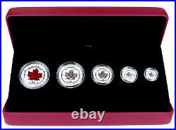 2015 Maple Leaf Fractional Silver Set 5 Incused Reverse Proofs $1, $2, $3, $4, $5