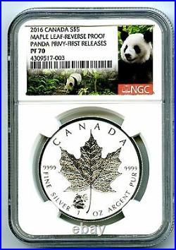 2016 $5 Canada 1 Oz Silver Maple Leaf Ngc Pf70 Panda Privy Reverse Proof Rare
