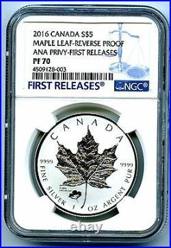 2016 $5 Canada Silver Maple Leaf Ngc Pf70 Anaheim Ana Poppy Privy Rev Proof Fr