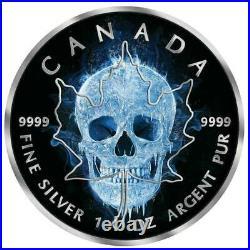 2017 Canada ICE SKULL Maple Leaf Ruthenium & Colorized 1 Oz. 9999 Silver Coin