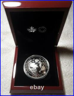 2017 Canada-Maple Leaves in Motion-5 OZ SILVER CONVEX Coin COA Box-Mintage 2,000