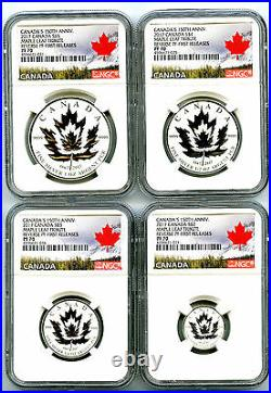 2017 Canada Silver 150th Anniv Ngc Pf70 Reverse Proof Maple Leaf 4 Coin Set Fr