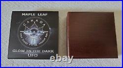2017 Maple Leaf Glow In The Dark UFO 1 oz Silver Canada Very Rare