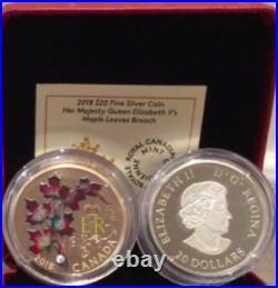 2018 Maple Leaves Brooch $20 1OZ Silver Coin Canada HerMajesty Queen ElizabethII
