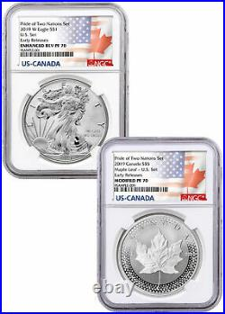 2019 1 oz Silver Eagle&Maple Leaf Pride Two Nations 2 Coin NGC PF70 ER SKU58642
