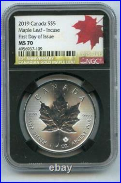 2019 $5 CANADA 1 OZ SILVER INCUSE DESIGN MAPLE LEAF NGC MS70 FIRST Day of Issue