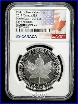 2019 Pride of Two Nations Set NGC PF70 First Release Silver Eagle Maple leaf