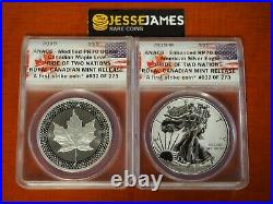 2019 W Proof Silver Eagle Maple Leaf Pride Of 2 Nations Rcm Set Anacs Rp70 Pr70