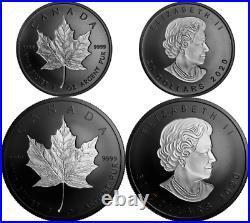 2020 4OZ Pure Silver Maple Leaf Incuse SML Rhodium-Plated Proof $50&$20 2-Coins