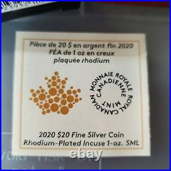 2020 Canada $20 Rhodium Plated Incuse Silver Maple Leaf 1oz Limited Edition Coin