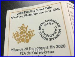 2020 Incuse Maple Leaf Silver 1oz Coin with Rhodium FR PF70 NGC Canadian #1428
