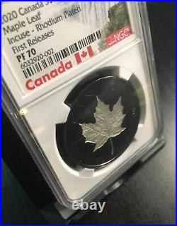 2020 Incuse Maple Leaf Silver 1oz Coin with Rhodium PF70 NGC #1592/5k White Core