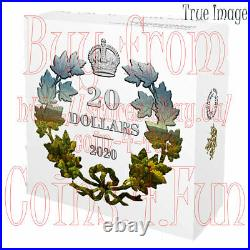2020 Masters Club Iconic Maple Leaves $20 Scallop Pure Silver Gold-Plated Coin