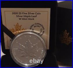2020 W Mint Mark Silver Maple Leaf SML $5 1OZ Pure Silver Coin Canada Winnipeg