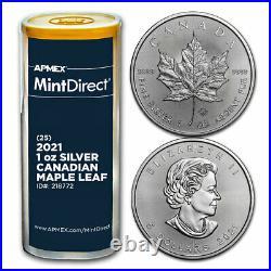 2021 Canada 1 oz Silver Maple Leaf (25-Coin MintDirect Tube) SKU#218772