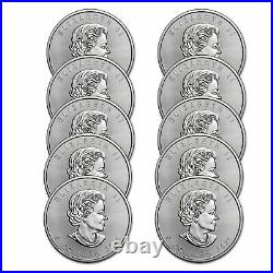 2021 Canada 1 oz Silver Maple Leaf BU Lot of 10 Coins. 9999 Fine Silver