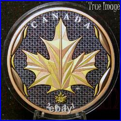 2021 Maple Leaf in Motion $50 Pure Silver Yellow&Rose Gold Plated Coin Canada