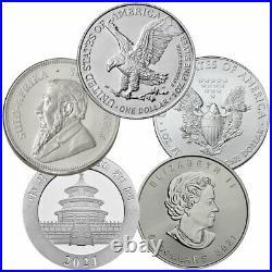 2021 Top 5 Silver Coin Starter Pack GEM BU Eagle Panda Maple Leaf Krugerrand