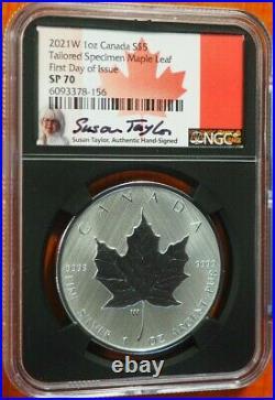 2021 W $5 Burnished Silver Maple Leaf Ngc Sp70 Fdi Susan Taylor Signed
