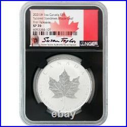 2021 W $5 Tailored Burnished Silver Maple Leaf Ngc Sp70 Fr Susan Taylor Signed