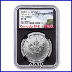 2021-w Canada $5 1-oz Silver Maple Leaf Tailored Specimen Ngc Sp70 Fr Black Core