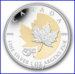 25th Anniversary Silver Maple Leaf 2013 1OZ Pure Silver Coin Canada Gold-plating