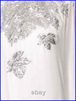 $3890 NEW Oscar de la Renta Maple Leaf Caftan White Silver Cold Shoulder XS S