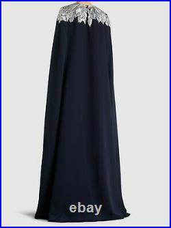 $4290 NEW Oscar de la Renta Silk Maple Leaf Cape Back Caftan Navy Silver XS S