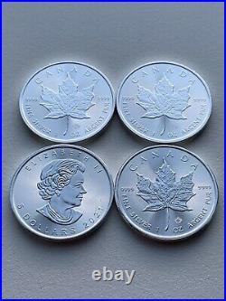 4x 2021 Silver Maple Leaf 1 oz Canadian Silver Bullion Coin