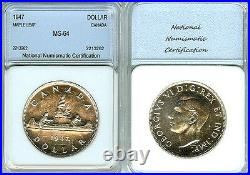 Canada 1947 Dollar, Maple Leaf, Rare High Grade, Frosty Device, Mtg 21,135