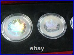 Canada 2003 Silver Maple Leaf 5 Coin Hologram Set WithBox & Coa