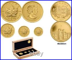 Canada 2011 Maple Leaf Set Gold 4 Coin Silver Medallion Coin Royal Canadian Mint