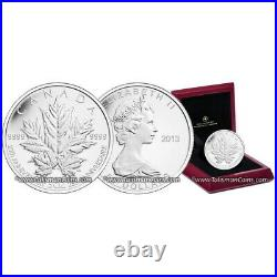 Canada 2013 MAPLE LEAF 25th Anniversary $50 5 Oz Pure Silver Reverse Prf in OGP