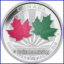 Canada 2014 Maple Leaf Forever $250 1 Kilogram Pure Silver Kilo Red Green Enamel