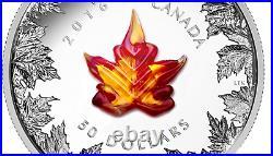 Canada 2016, 5 Oz. $50 Fine Silver Coin MURANO MAPLE LEAF AUTUMN RADIANCE