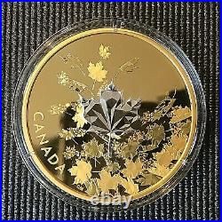 Canada 2017 $50 Whispering Maple Leaves 3 oz Silver Proof Gold-Plated Coin