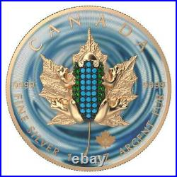 Canada 2020 5$ Maple Leaf Bejeweled FROG 1 Oz Silver Coin. 500 pcs only